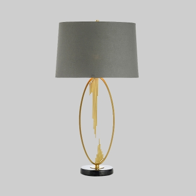 Cylindrical Fabric Table Lamp Modernism 1 Bulb Grey Task Lighting for Living Room