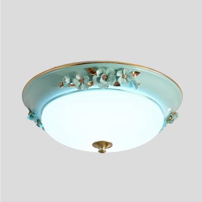 Dome Bedroom Ceiling Lighting Countryside Metal 1 Bulb White LED Flush Mount Light Fixture, 12