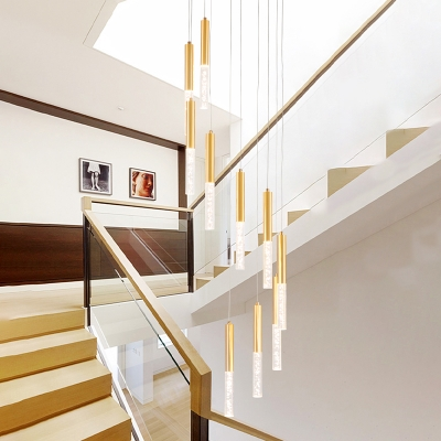Linear Acrylic Hanging Light Fixture Modern 10 Lights Gold LED Cluster Pendant for Stair