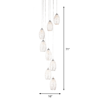 Metal Oval Cluster Pendant Minimalism 8 Lights Silver Hanging Light Kit for Stair