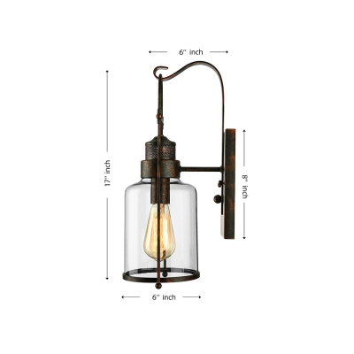 Rustic Country Style Jar Wall Light with Clear Glass Shade for Outdoor Warehouse Barn