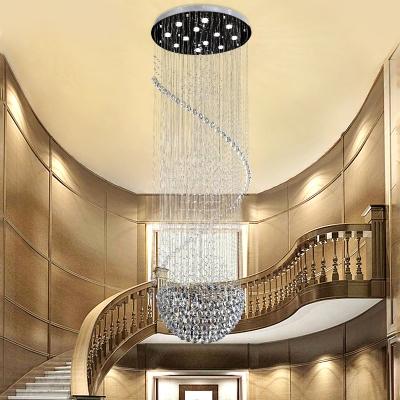 Silver Cascading Multi Light Pendant Modernist 12 Bulbs K9 Crystal LED Down Lighting for Stair