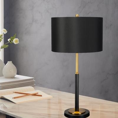 Straight Sided Shade Task Light Modernism Fabric 1 Bulb Small Desk Lamp in Black
