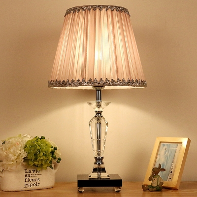 1 Head Dining Room Table Light Modern Blue/Pink Small Desk Lamp with Flared Fabric Shade