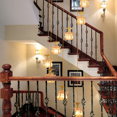 Amber Glass Globe/Cylinder Cluster Pendant Modern 8 Bulbs Brass Ceiling Hang Fixture for Stair