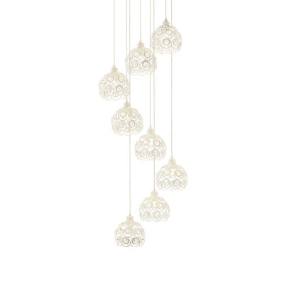 Clear Crystal Floral Cluster Pendant Modern 8 Lights Drop Lamp in Black/White for Living Room