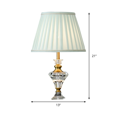 Fabric Tapered Table Light Modern 1 Head Lake Blue Small Desk Lamp with Crystal Base