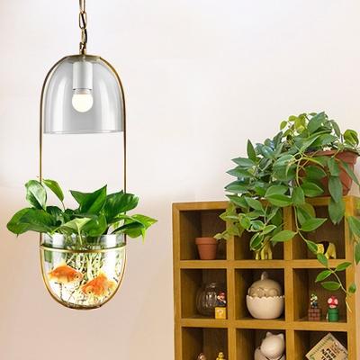 Gold 1 Head Pendant Light Fixture Industrial Metal Capsule Suspension Light with Plant Deco