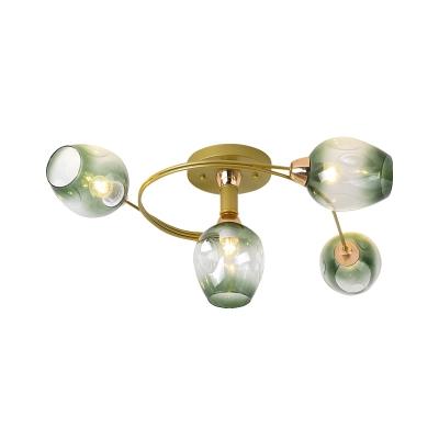 Gold Spiral Semi Flushmount Modernist 4-Bulb Metal Flush Ceiling Light with Bud Gradual Green Dimpled Glass Shade