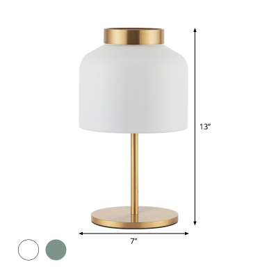 Macaron 1 Bulb Nightstand Lamp Blue/White Cylinder Reading Book Light with Metal Shade