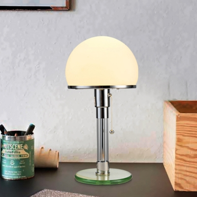 White Glass Domed Table Light Modernist 1 Head Nightstand Lamp in Blue with Pull Chain