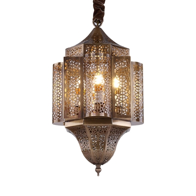 3 Lights Metal Pendant Chandelier Arabian Brass Hollow Restaurant Ceiling Suspension Lamp
