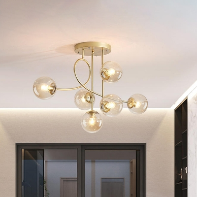 6-Bulb Living Room Ceiling Chandelier Modern Brass Hanging Pendant Light with Sphere Clear Glass Shade