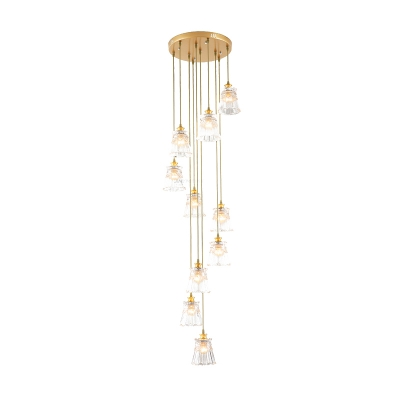 Conical Cluster Pendant Light Minimalist Clear Prismatic Glass 10 Heads Stair Hanging Lamp in Gold