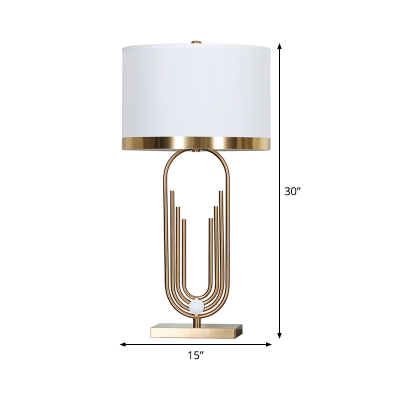 Contemporary 1 Head Task Lighting White Tubular Small Desk Lamp with Fabric Shade