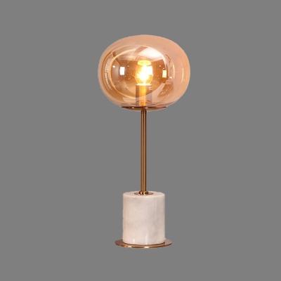 Contemporary Oval Task Lighting Amber Glass 1 Bulb Living Room Night Table Lamp