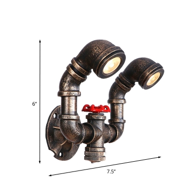 Metallic Bronze Wall Light Sconce Water Pipe 1/2-Light Vintage Wall-Mount Lamp with Red Valve Deco