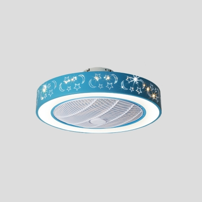 Pink/Blue LED Ceiling Fan Light Kids Acrylic Drum Semi Flush Mounted Lamp with 7 Clear Blades, 20.5
