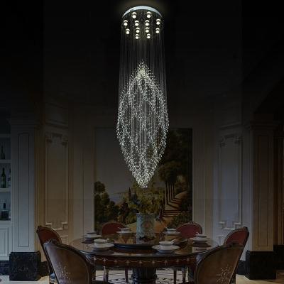 Silver Curvy Multi Light Pendant Modern 12 Lights Hand-Cut Crystal LED Suspension Lamp for Dining Room