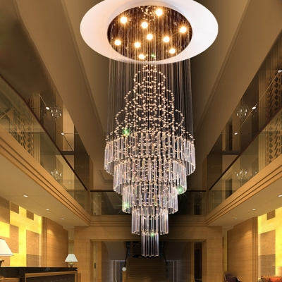 Tiered Stair Ceiling Lamp Clear K9 Crystal 10 Bulbs Contemporary LED Multi Pendant Light Fixture in Silver