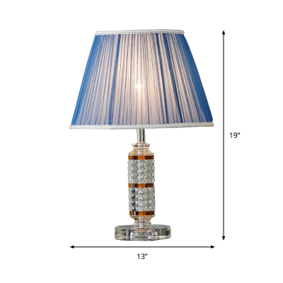 Cylindrical Desk Light Modernist Beveled Crystal 1 Head Night Table Lamp in Blue