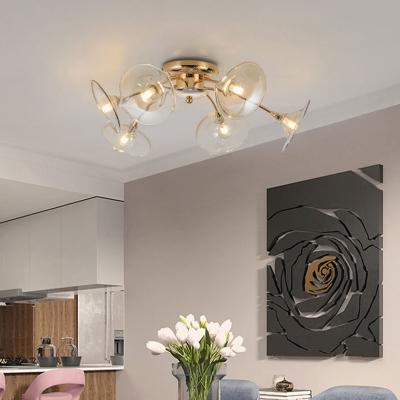 Flared Flushmount Lighting Modernism Green/Amber Glass 6 Heads Living Room Semi Flush Lamp