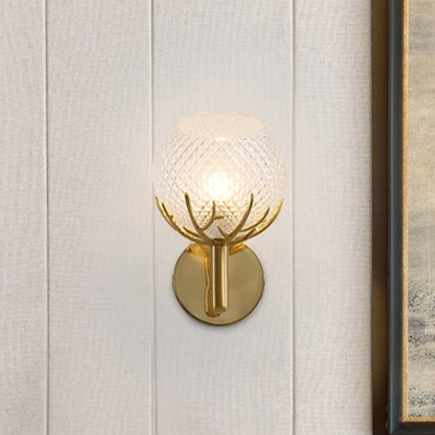 Global Wall Sconce Lighting Modernism Clear Latticed Glass 1 Bulb Bedside Wall-Mount Lamp in Gold with Antler Design