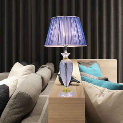 Jar Nightstand Lamp Contemporary Faceted Crystal 1 Bulb Reading Book Light in Blue