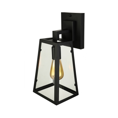 Matte Black Single Light Wall Sconce Light Industrial Retro Iron Trapezoid Wall Light with Glass Shade