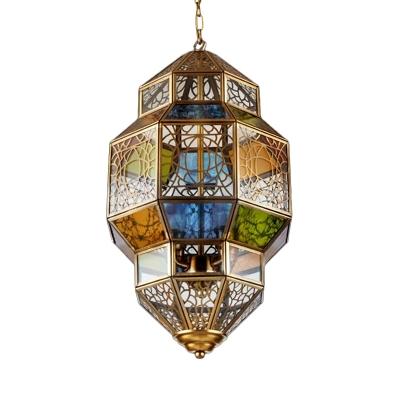 Metal Lantern Chandelier Pendant Light Traditional 3 Bulbs Restaurant Hanging Lamp in Brass