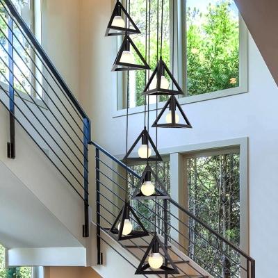 Metal Triangle Multi Light Pendant Simple 8 Lights Black Ceiling Hang Fixture for Living Room
