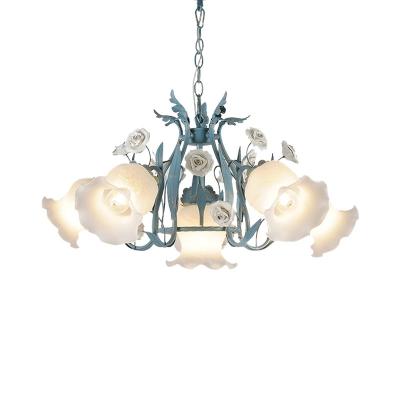Metal White/Pink Chandelier Lamp Bloom 4/6/9 Bulbs Pastoral LED Pendant Ceiling Light for Living Room