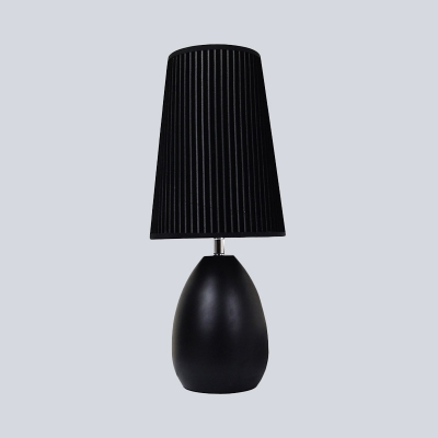 Modernist 1 Bulb Nightstand Lamp Black Conical Reading Book Light with Fabric Shade