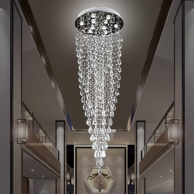 Teardrop Cluster Pendant Light Minimalist Beveled Crystal 9 Heads Restaurant LED Hanging Lamp in Silver