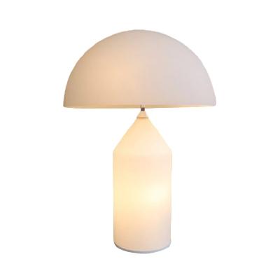 White Glass Mushroom Shaped Desk Lamp Simple Style LED Night Table Light for Bedside