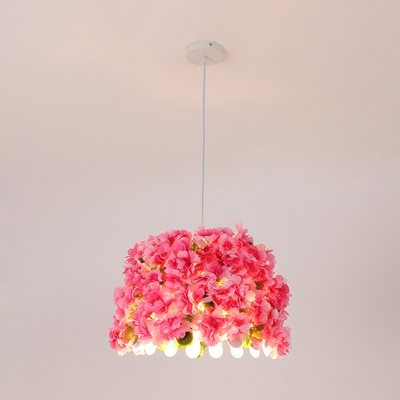 1 Bulb Flower Pendant Light Fixture Vintage White Metal LED Hanging Lamp for Restaurant