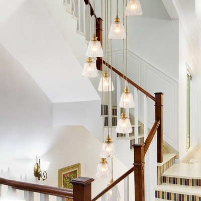 10 Bulbs Stair Cluster Pendant Simple Gold Hanging Light Fixture with Cone Clear Prismatic Glass Shade