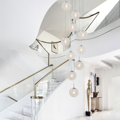 Clear Glass Ball Cluster Pendant Simple 10 Heads White LED Suspension Lighting for Living Room