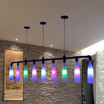 Colorful Glass Black Island Lighting Wine Bottle 9-Light Art Deco Ceiling Pendant Lamp for Bar