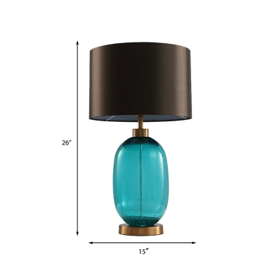 Contemporary Oblong Reading Light Hand-Cut Crystal 1 Bulb Night Table Lamp in Brown