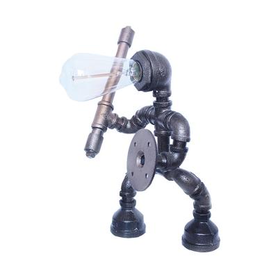 Grey 1 Head Table Lighting Vintage Metallic Water Pipe Nightstand Lamp with Robot Design