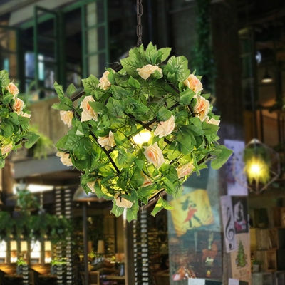 Metal Black Suspension Pendant Flower 1-Bulb Industrial LED Hanging Lamp for Restaurant