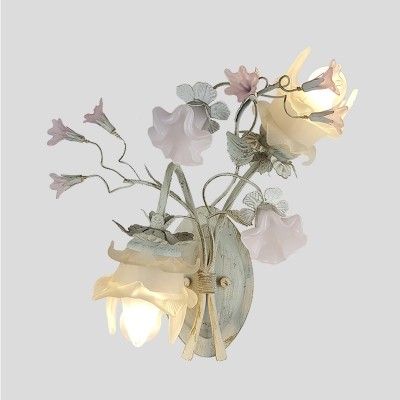 Metal Bloom Sconce Lighting Fixture Romantic Pastoral 2 Bulbs Living Room Wall Lamp in Gray and White