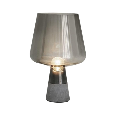 Modernism Cup Nightstand Lamp Smoke Gray/Cognac Glass 1 Head Living Room Reading Book Light