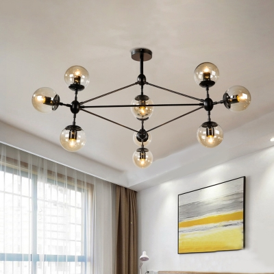 Modernist 10-Bulb Pendant Chandelier with Round Clear Glass Shade Black Triangle Frame Hanging Light Fixture