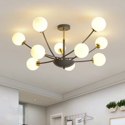 White Glass Ball Semi Flush Light Contemporary 10 Bulbs Ceiling Lighting in Black with Sputnik Design