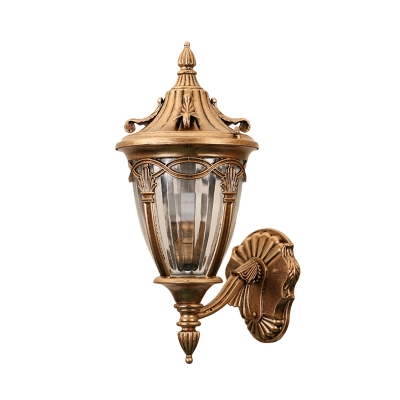 Brass/Black Pinecone Sconce Loft Metal 1 Bulb Outdoor Wall Light with Clear Ribbed Glass Shade