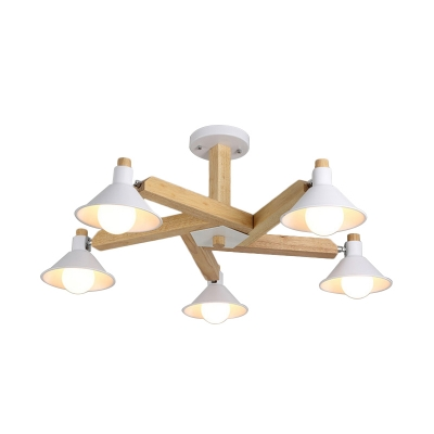 Conical Semi Flush Light Fixture Nordic Wood 5 Lights Dining Room Ceiling Lamp in White
