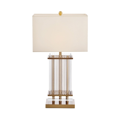 Modern Rectangle Table Light Metallic 1 Head Bedroom Fabric Nightstand Lamp in Gold with Clear Glass Bars