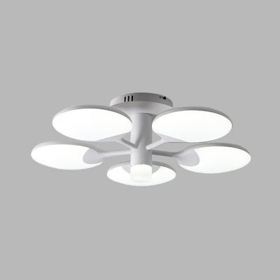 Table Tennis Board Bedroom Flushmount Acrylic 5 Lights Modern LED Semi Flush Mount Lamp Fixture in White